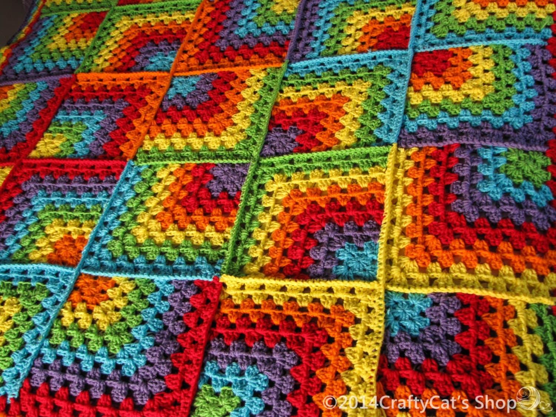 Rainbow Crochet Throw Handmade Mitered Granny Square Blanket