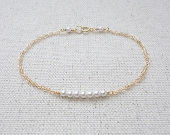Tiny pearl bar bracelet, Swarovski pearl bracelet, Wedding bracelet, Bridesmaid gift, Simple everyday jewelry