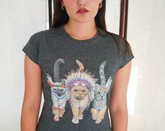 Cat indians ladies cat t shirt cats t shirt cats pets for Lucky cat shirt urban outfitters