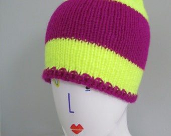 Neon Yellow & Purple Beanie