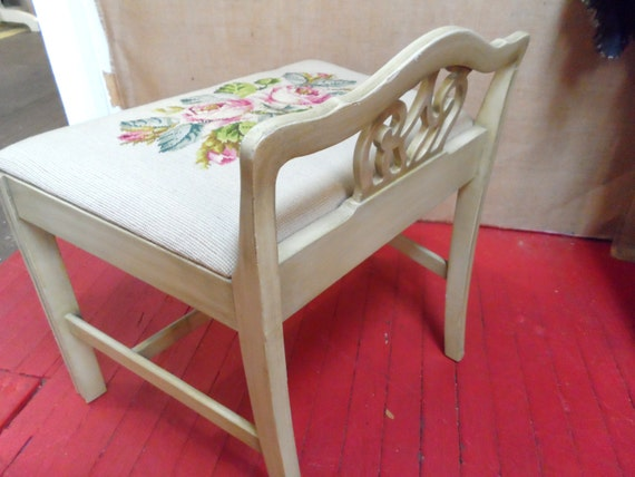 Grey Gray Needlepoint Vanity Bench Seat Low Back Chair Stool