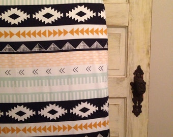 Fitted Crib Sheet in Arid Horizon, Arizona, Tribal, Navy and Mint.