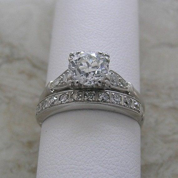 Platinum Diamond Antique Engagement Ring And Diamond Ring
