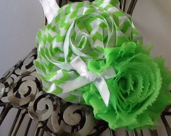 Lime green and white headband, green flower headband, chevron print headband, girls headband, baby headband, flower headband hair accessory