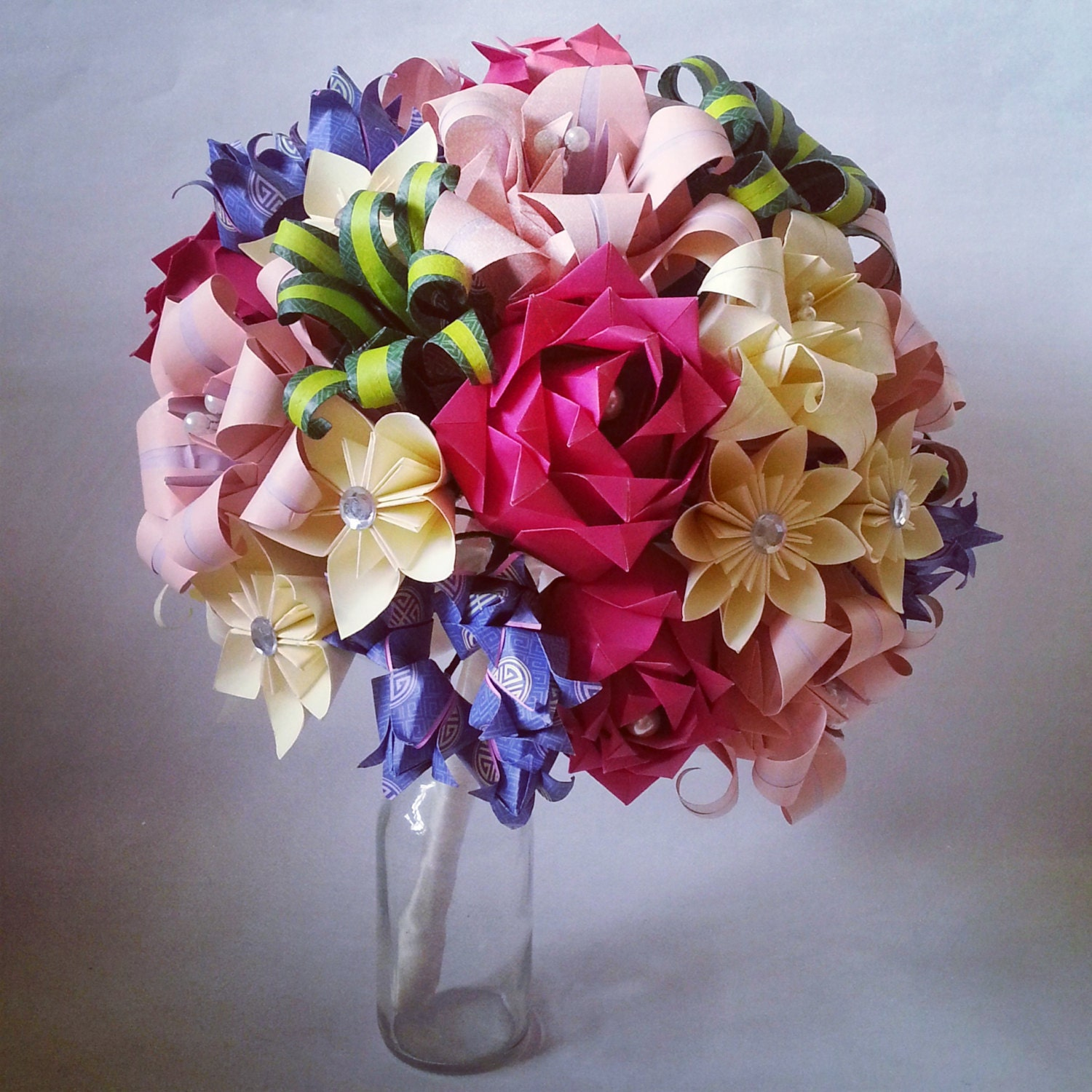 Origami Wedding Flowers: Paper Flower Origami Bridal Bouquet Statement Piece Roses