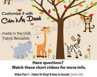 Jungle Animal Decal, Nursery Jungle Decal, Animal Wall Sticker, Safari Animal Decals, Zebra Elephant (WASafSunset) WAF