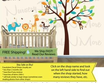 Jungle Wall Stickers, Animal Wall Stickers, Elephant, Giraffe, Monkey (SG Mini Animal Full Tree Jungle Teal) SGMAFT