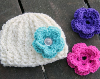 Molly Texture Crochet Hat with Interchangeable Flowers for Newborns, Babies, and Toddlers