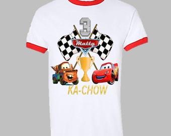 Disney Cars Birthday Shirt - Cars Birthday Red Ringer Shirt