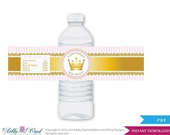 Girl Princess Baby Shower Water Bottle Wrappers, Labels, - it's a Girl Gold Pink, Royal - ao71bs5