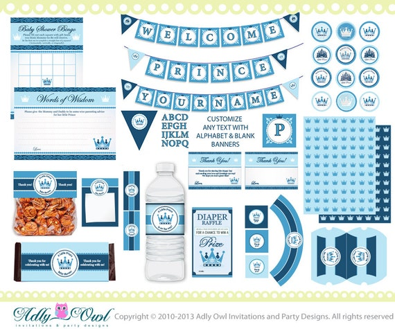 Royal little prince baby shower extended printable party kit for A new little prince baby shower decoration kit