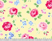 Fabric Pam Kitty Diagonal Medium Floral Cherries  -1/2 yard Lakehouse Lake House LHC 13027 Butter