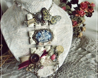 """Romantic assemblage necklace-Shabby Chic-Rustic/Boho - Repurposed Vintage - """"One Morning In The Garden of Light"""""""