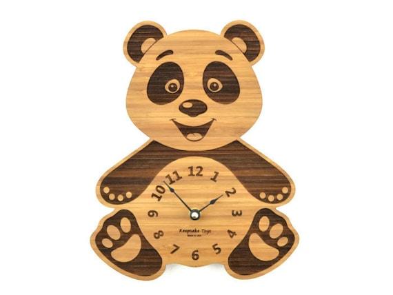 Panda Bear Clock Baby Nursery Wooden Gift By