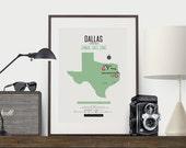 Zombie Safe Zone Dallas Map Poster - Dallas City Map