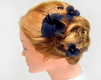 Wedding simple fascinator Halloween fascinator Black fascinator Bridesmaids hair piece Blue fascinator Hair piece Wedding flower