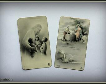 Set of 2 vintage 40's holy communion cards.