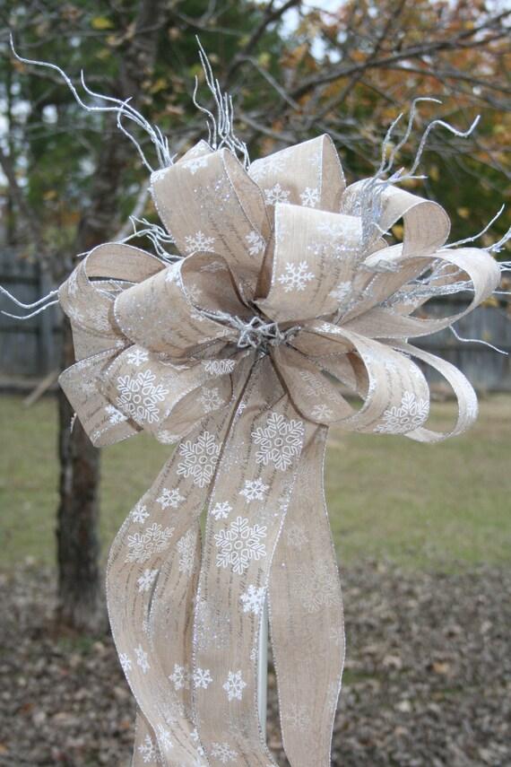 christmas tree topper ribbon topper bow topper natural. Black Bedroom Furniture Sets. Home Design Ideas