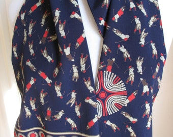 Vintage Retro Golf Scarf, Long Scarf With Golf Players Absolutely Everywhere, Passionate Golfer Gift