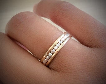 Gold and Silver Stacking Set, Sterling Silver Dot RIng, 14k Gold Filled Stacking RIngs, Minimalist Jewelry, THIN Ring Set, Etsy Gifts