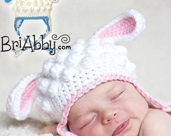 Crochet Lamb Hat Pattern (PDF FILE)