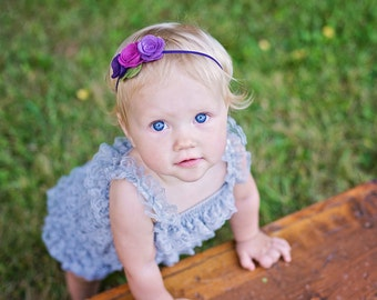 Purple felt flower headband - baby, toddler, girls headband -