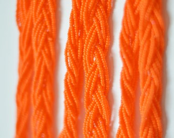 Bright orange necklace,bright orange necklace,neonnecklace, braided necklace, beaded necklace,aqua necklace,neon orange, bridesmaid gift