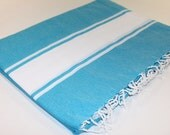 Beach Picnic Oversized Blanket, Beach Towel Blanket, Excellent Quality 100% Turkish Cotton Blue