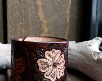 Tooled leather cuff bracelet with antiqued white flower, western