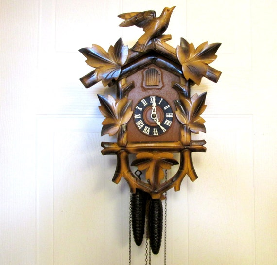 Vintage Wooden Cuckoo Clock Hubert Herr Movement Mad In