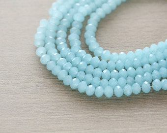 Electroplate Glass Beads - 50 pcs of Light Blue Plated Faceted Glass Crystal Rondelle Beads Loose Beads - 4x3mm