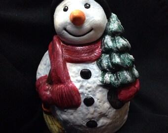 Hand painted snow man figure