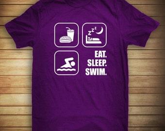 Eat Sleep Swim Shirt - gift idea for swimmer, swim champ, swim meet, swimming team - ID: 295