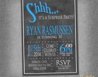 Chalkboard Surprise Birthday Party Invitation