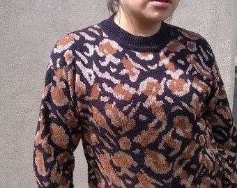 80s metallic gold leopard print sweater