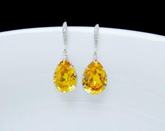 sunflower yellow bridal earrings , yellow swarovski earrings , yellow bridemaids earrings , crystal bridal earrings , yellow stone dangle