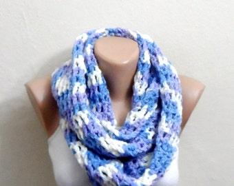 blue white lilac knit infinity scarf multicolor circle scarf crochet scarf cable scarf shawl
