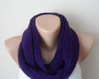 purple knit infinity scarf lilac  circle scarf winter scarf wrap loop scarf