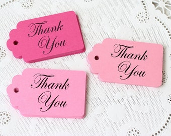 Pink Thank You Tags, Set of 24, Thank You Tags, Pink Favor Tags, Wedding Favor Tags, Merchandise Tags, Paper Tags, Pink Gift Tags