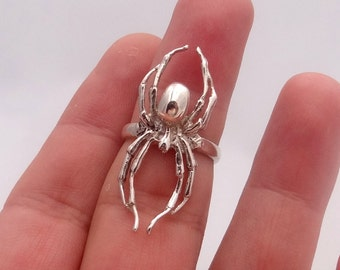 Spider ring made of solid sterling silver, all sizes are available, darkening patina can be added by your inquiry. Exclusive and cool design