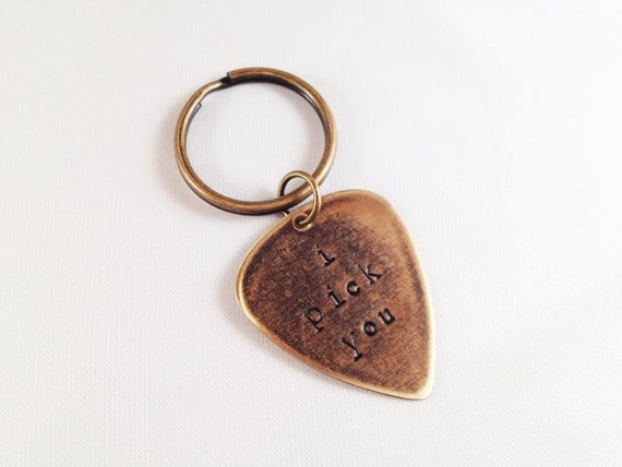 metal guitar pick i pick you key ring by malleadornments on etsy. Black Bedroom Furniture Sets. Home Design Ideas