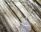 Natural, Hand Picked Sea Glass Necklace, Rare PALE purple, and Sterling Silver