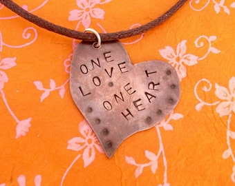 One Love, One Heart, Bob Marley quote necklace, hand stamped copper jewellery