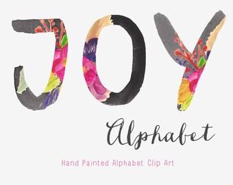 Alphabet Hand Painted Flower Clip Art - Joy