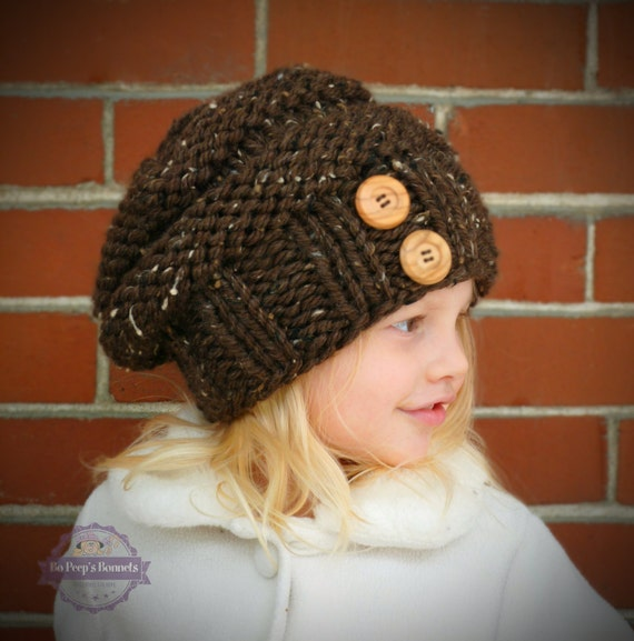 Hand Knit Toddler Slouchy Beehive Hat in Chocolate With Two Coconut Buttons - Knit Toddler Hat - Knit Slouch Toddler Hat - Knit Kids Hat