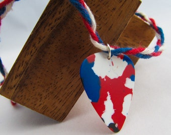 Red White and Blue Guitar Pick Choker Necklace