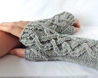 Celtic Cable Knit Fingerless Gloves Custom Knitwear Gifts for Her Merino Wool Hand Warmers Gifts Under 40 Wrist Warmers Texting Gloves