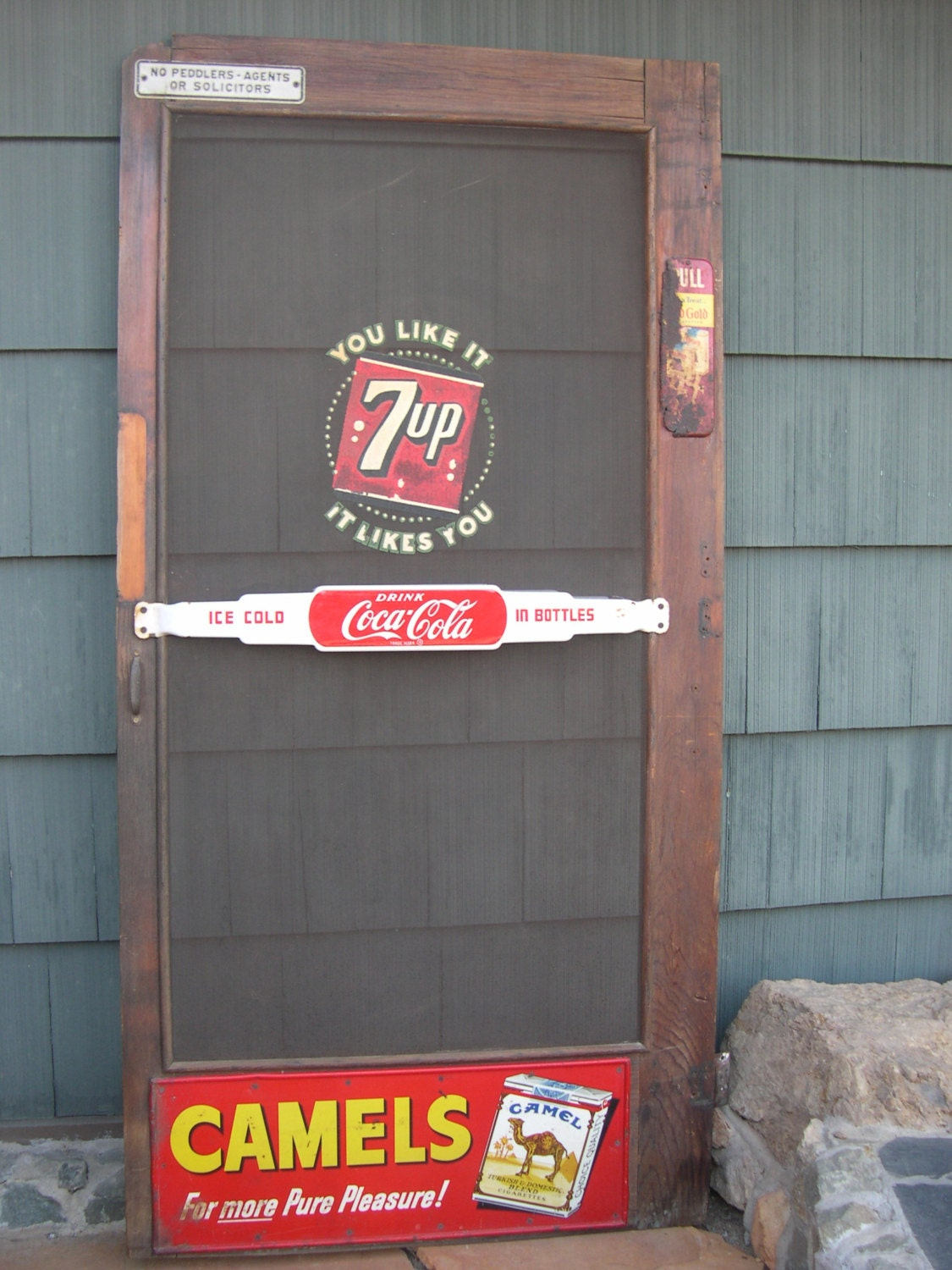 Items Similar To Old Advertising Screen Door Coke 7 Up Gas