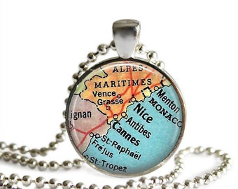 France map necklace Cannes Monaco pendant vintage atlas French Riviera travel gift.