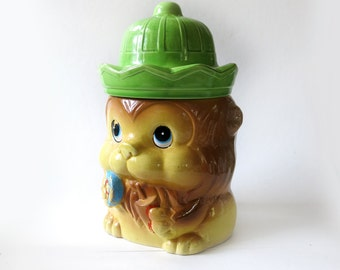 Vintage Lion Cookie Jar with Green Hat Retro Kitsch Collectible Leo